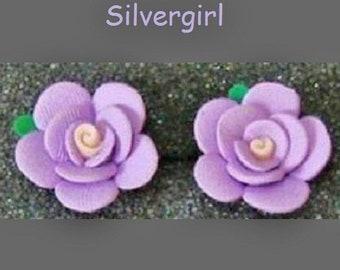 Soft Lilac Polymer Clay Ruffle Flower Stud Earrings