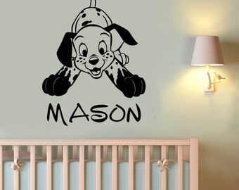 Custom Name Wall Decal Dalmatian Wall Sticker Vinyl Art Disney Decorations for Home Kids Boys Room Bedroom Nursery Personalized Decor dlm6