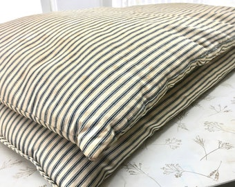 Vintage Feather Down Bed Pillows in Original Ticking #2-3. True Rest. Matching Pair. Nestle In.