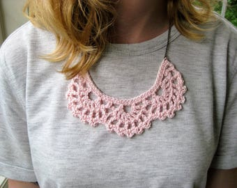 Crochet bib necklace, blush pink necklace, statement jewelry, vintage lace jewelry, bridesmaid gift, crochet jewelry, crochet necklace