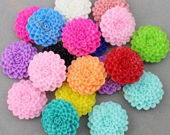 30 pcs Resin Dahlia Flower 25 mm Mixed Colors Flat Back mum Flower Cabochon ring necklace hairpin decor  SZ0070