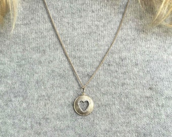 Heart Necklace, Diamond Heart necklace, Gift For Her, Heart Silver Necklace, Valentines Gift, Anniversary,