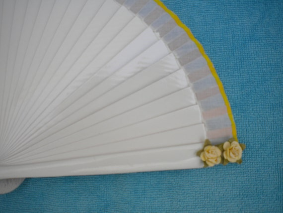 White Bridesmaid SIZE OPTIONS Hand Fan with Mulberry Paper Flowers and Matching Border - Any Color MTO