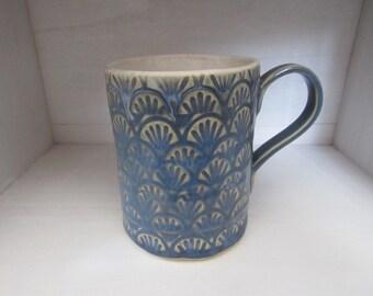 Handmade Mug- Scalloped pattern with Opal Sky Blue glaze, 13oz