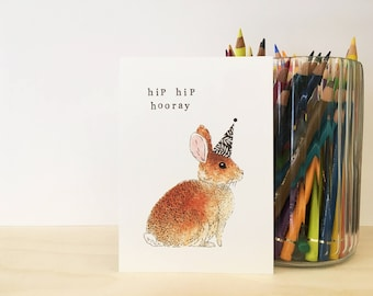 Birthdaycard Bunny Illustration 'hip hip hooray'