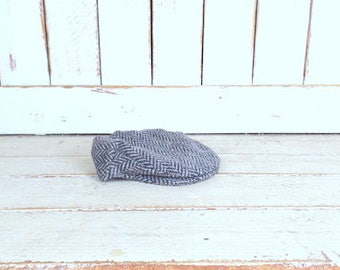 Vintage brown/grey new wool Irish newsboy cap/wool paperboy hat/Hanna Hats of Donegal Town Ireland/medium