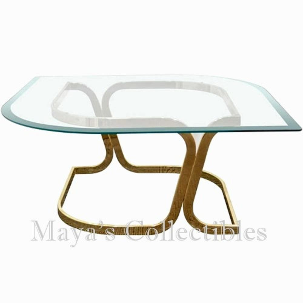 Milo Baughman Mid Century Sculptural Coffee Table Glass Brass Marquise  Shaped