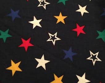 """blue white red green silky feel stars fabric  2 yards x 58"""""""