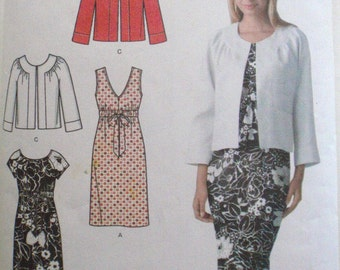 Simplicity Easy Chic Sewing Pattern - V-Neck Dress, Scoop Neck Dress and Jacket - Simplicity 3874 - Size 16-18-20-22-24, Bust 38-46, Uncut