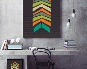 Retro Pop Mid Century Chevron Pattern Print - Scandinavian Design, Modern Minimalist Wall Art, Folk Art, Chevron, Geometric Print