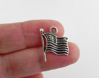 20 American Flag Charms in Antiqued Silver - 18mm x 15mm