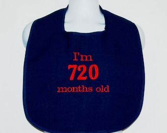 Custom Funny Adult Bib, 60th Birthday Gift, Canvas, Clothing Protector, Personalize With Age, No Shipping Fee, Ready To Ship TODAY AGFT 1024
