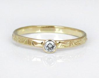 Diamond Engagement Ring, 14k Gold Ring, Unique Engagement Ring, Diamond Wedding Band, Flower Diamond Ring, Small Diamond Engagement Ring