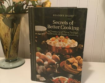 1973 Secrets of Better Cooking with Original Pamphlet, Reader's Digest Cookbook 1st Edition, Vintage Cookbook, Classic American Book