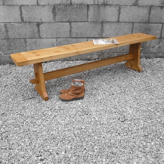 Traditional Farmhouse Aged Oak Wooden Benches - Kitchen Dining Room Hall Seat