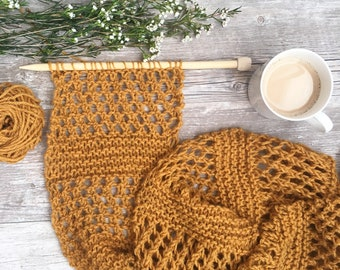 Summer Knit Scarf, Honeycombs Knit Scarf Pattern, Spring Knit Scarf, Easy Knit Scarf Pattern, Yellow Knit Scarf, Beginner Mesh Scarf
