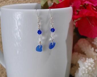 Earrings, Sterling Silver Earrings, Handmade Earrings, Sea Glass Earrings, Genuine Sea Glass Earrings, Blue Sea Glass, Beach Jewelry