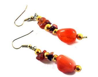 Amber Stone Earrings, Earrings, Amber, Stone, Beads Amber, Beads Stone, Beautiful Earrings, Handmade  Earrings