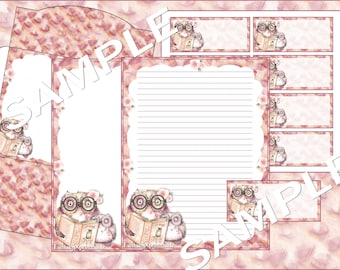 Flower Owl Catching Mice Stationery Set