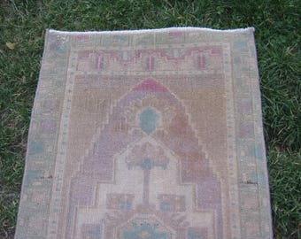 Turkish Rug 1x3 Brown Wool Pile Small Vintage Rug Hand Knotted Semi Antique Area Rug - BEDA0103