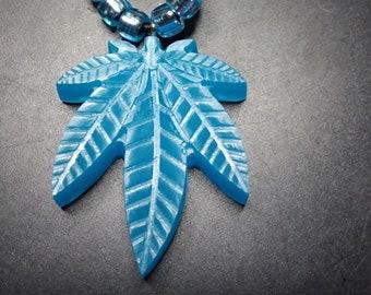 Blue Glow in the Dark Pot Leaf Necklace