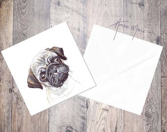 Pug Greeting Card - Fawn Puppy