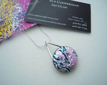 Pink Dichoric Glass Pendant, Fused Glass Jewelry, Made in Montana. OOAK Pendant, silver settings