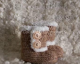 Super Cute  UGG like Fur Trimmed Baby Booties Crochet