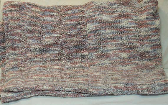 "Vintage Large 86"" x 68"" Hand Knitted Blanket Throw.. Cozy Knit Wrap"