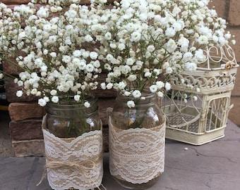 Mason Jar Wraps, READY to SHIP, Ivory Lace & Burlap,  Mason Jar Decoration, Shower, Party, Wedding, Centerpiece, Decoration