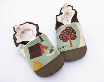 Organic Vegan Camping in Fall / non-slip baby shoes / made to order / babies toddlers preschool