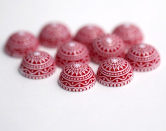 Vintage German Cabs Lucite Etched Red White Cabochons Carved Flatbacks 14mm (8)