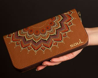 Wallet women. Leather wallet. Leather card holder. Original wallet. Leather purse. Mandala. Brown leather wallet. Painting. FREE SHIPPING!