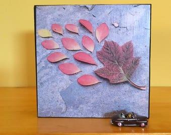 "Autumn Leaves Art Block - Home Office Decor - Housewarming Gift- New House or  Wedding  Present - Botanical Print 4"" x 4"""