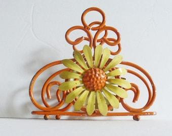 Orange and Yellow Metal Napkin Holder 1970s