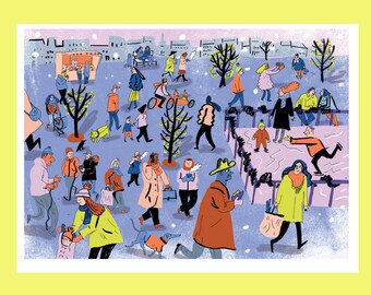 WINTER   seasons in the city A4 illustration print