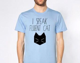 Men's Cat Shirt - I Speak Fluent Cat - Cat Tee - Cat T-Shirt - Funny Shirt - Cat Lover - Cat Tshirt - Funny Cat Shirt - Gift For Cat Lover