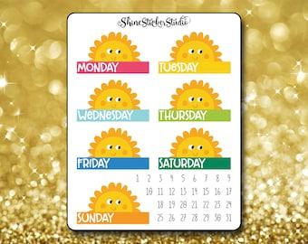 Hello Summer Date Cover Stickers - Planner Stickers Erin Condren Life ECLP Stickers Happy Planner Sunny Stickers