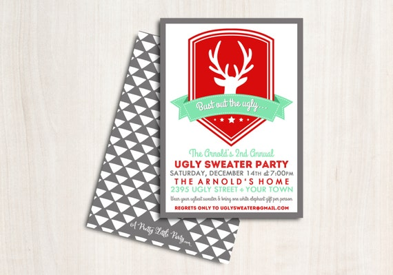 "Ugly Sweater Party Invitation - Christmas Party Invite - Holiday Invite ""Bust out the Ugly"""