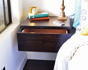 Floating Wall Mounted Night Stand Drawer Minimalist Hanging Nightstand - Mayan Espresso