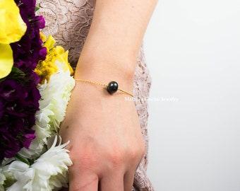 MULTIPLE BLACK PEARL Bracelets - Bridesmaids gift, friends gift, 925 sterling silver bracelet with natural black freshwater pearls