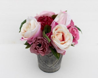 Small Rose arrangement, Spring table Centerpiece, Home Decor, silk flower arrangement, summer flowers, wedding, gift for Mom