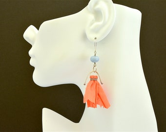 Orange sari silk and blue opal sterling silver boho earrings
