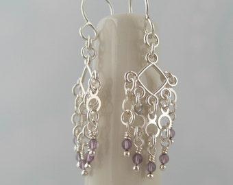 Sterling Silver Amethyst Chandelier Earrings. Whimsy Dangling Stone -Adel-