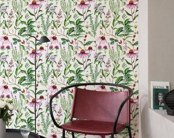 Botanical Floral Wallpaper, Herbal Removable Wallpaper, Self-adhesive Wallpaper, Jungle Wall Décor, Jungle Wallcovering - JW126