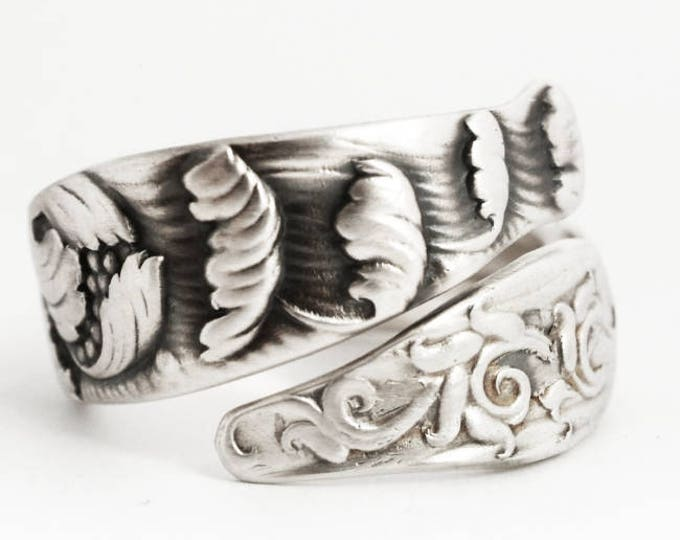 Water Waves Ring, Sterling Silver Spoon Ring, Antique Whiting ca 1880s, Handmade Flatware Jewelry, Custom Ring Size, Iris Thumb Ring (6887)