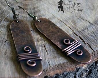Beaten copper earrings