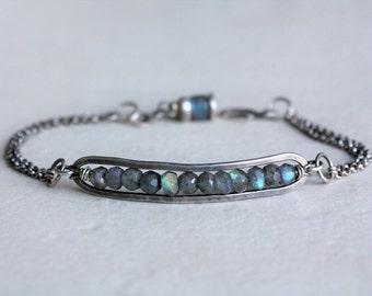 Labradorite bracelet, oxidized sterling silver bracelet, labradorite bar bracelet, gemstone bar bracelet, labradorite beads, made to order