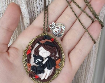 Handmade polymer clay witch necklace gift Idea
