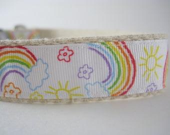 Hemp dog collar - Rainbow